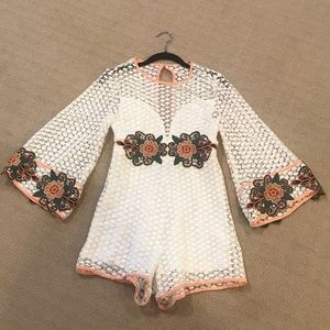 Lace Embroidered Romper